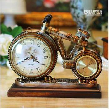 美屋家居 欧式工艺品仿古创意自行车钟表树脂超静音座钟装饰钟表 ZB009