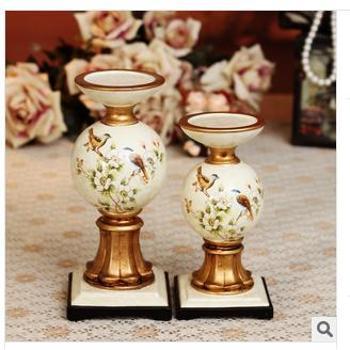 美屋家居 欧式田园奢华装饰品摆件客厅装饰摆设 对烛台结婚礼物