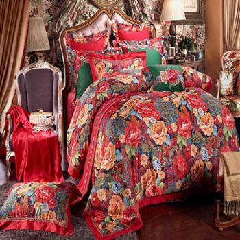冰蕊全棉贡缎被套绣花提花十件套 纯棉婚庆用品