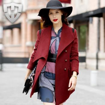 MW轻奢名品 2013冬装新款名媛显瘦纯羊毛呢大衣 女士毛呢外套 女