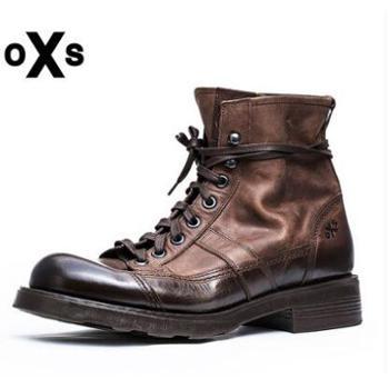 OXS意大利进口FRANK军靴牛皮中筒靴潮休闲复古男马丁大码正品