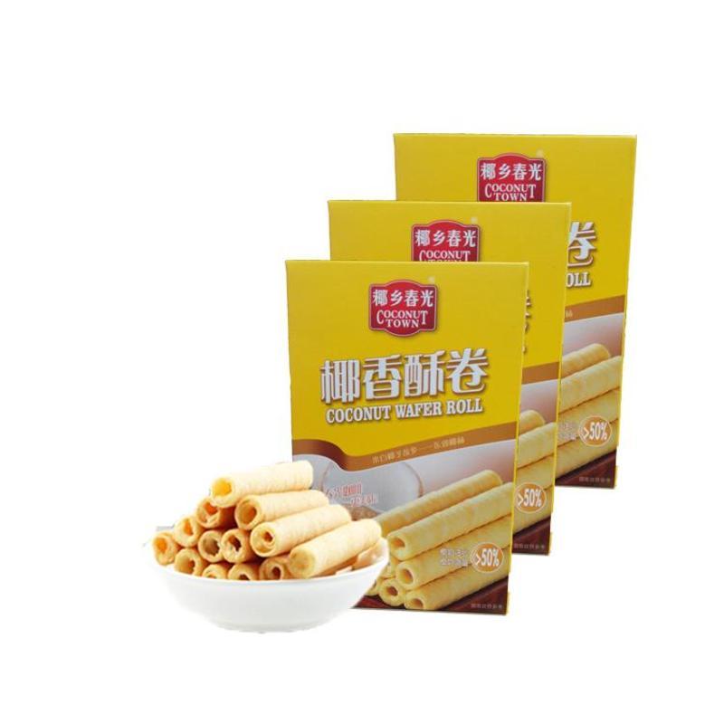 海南特产 春光食品 60g酥卷*3盒包邮 远销国外 休闲零食 椰奶饼干