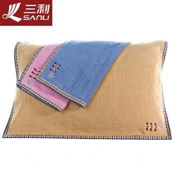 三利全棉枕巾特价加大加厚一对情侣经典格枕头巾纯棉2条装