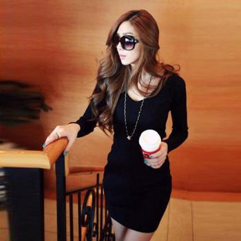 莉舒妮秋季韩版长袖气质女修身连衣裙包臀打底裙针织打底衫中长款