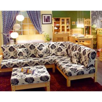 良辰木艺沙发布艺沙发组合简约现代客厅转角小户型皮布沙发住宅家具