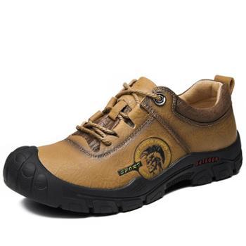 耶斯爱度头层牛皮低帮真皮登山鞋防水防滑户外保暖加绒徒步爬山休闲鞋(拼步7576)