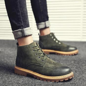 冬季英伦风马丁靴男复古工装鞋韩版学生加绒短靴子男加绒青年皮靴99-7
