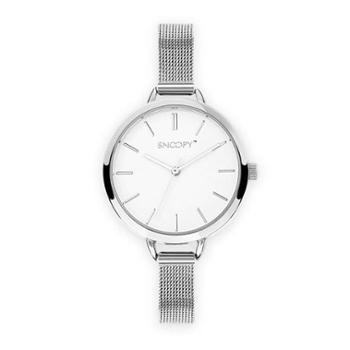 SNOOPY史努比手表简约潮流钢带防水石英女表SNW752EC-2531SV银色