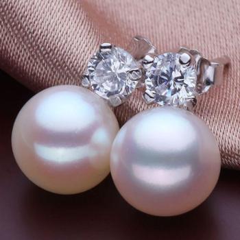 天然淡水镶钻珍珠耳钉正品女王妃款925银小饰品
