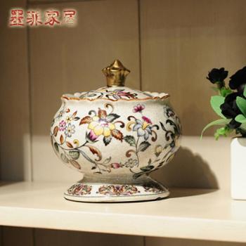 纽曼米莱 欧式彩绘创意家居陶瓷首饰盒/收纳罐/储物罐装饰品摆件
