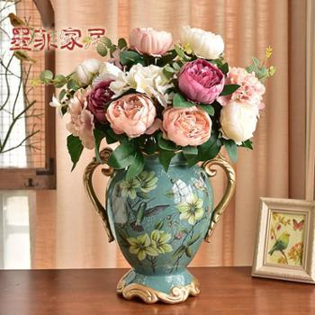 墨菲欧式双耳陶瓷花瓶摆件客厅复古创意美式仿真干花插花大花器