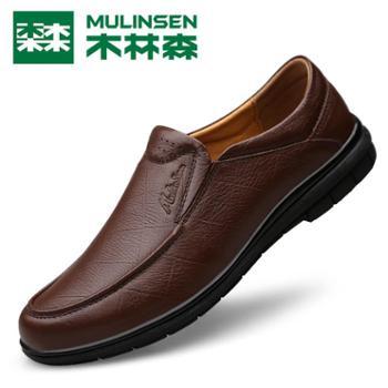 木林森四季新款软底男士皮鞋真皮男鞋商务皮鞋休闲鞋