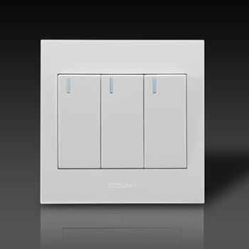 gelan开关 插座 面板G3-123三开双控开关16A 250V 白色