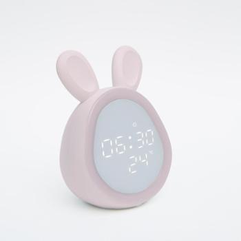 万火兔子小夜灯闹钟智能学生用多功能静音床头小夜灯