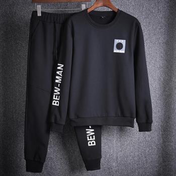 依采奴秋季韩版潮流套头学生卫衣休闲运动服套装男生修身帅气两件套