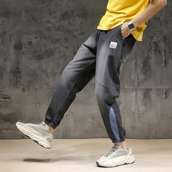 YICAINU 夏季新款九分束脚牛仔裤男薄款