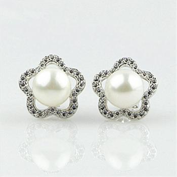 天然淡水珍珠耳坠925纯银镶天然锆石五角形珍珠耳钉HFY-12