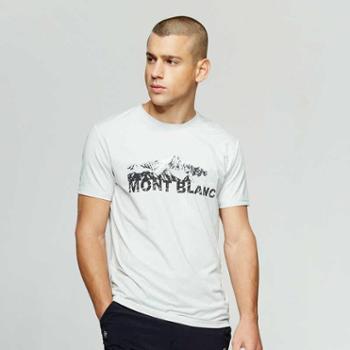 探路者T恤男户外春夏新款男式弹力透气印花短袖T恤KAJG81453