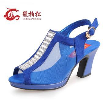 正品龍柏松夏季新款时尚女网鞋高跟休闲女鞋性感网纱透气布鞋包邮