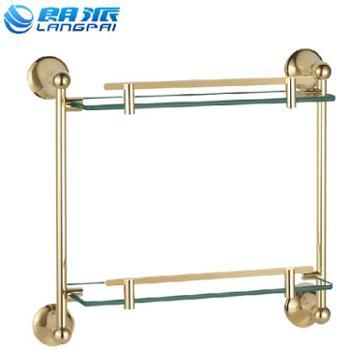 朗派卫浴 二层置物架 双层化妆台架 浴室 欧式卫生间五金挂件金色