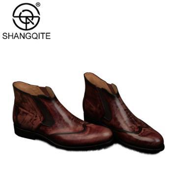 新款男士青春潮流马丁靴男短靴圆头套筒机车靴帅气复古靴时尚