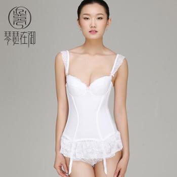 琴瑟在御 白色蕾丝塑身内衣 燃脂束身上衣 收腹瘦身塑身衣带文胸