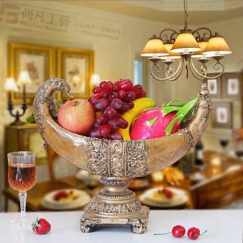 复古家居艺术工艺品摆件欧式树脂手工水果盘家装饰品高档餐厅摆设