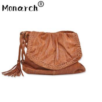 Monarch/国君羊皮复古女包包单肩包斜挎包
