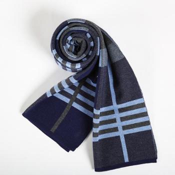 奥凯拉 新品秋冬季羊绒高档男士围巾 黑白百搭格子保暖围巾