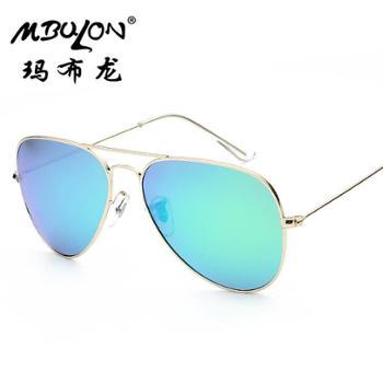 玛布龙 新款不锈钢框架眼镜 偏光彩膜太阳镜UV400 情侣个性墨镜 3025