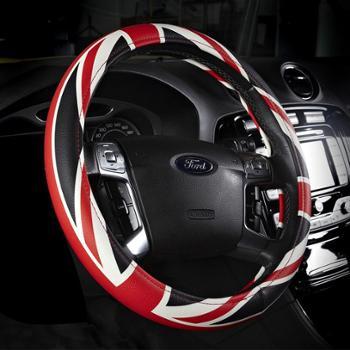 霓裳车影新款方向盘套米字旗汽车把套四季皮革汽车内饰用品