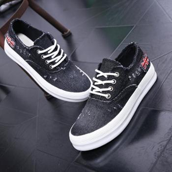 乔驰 春季帆布鞋韩版学生女鞋厚底水洗牛仔松糕鞋懒人单鞋休闲板鞋