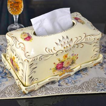 友来福欧式创意手工描绘精致工艺纸巾盒抽纸巾陶瓷