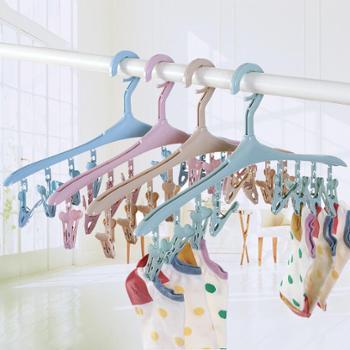 恒曼8夹多功能塑料防风衣架带夹子卡扣衣服挂袜子内衣晾晒衣撑(5个一组)