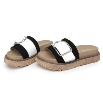 韩都e客夏季罗马一字拖金属扣松糕厚底中跟韩版时尚女鞋拖鞋