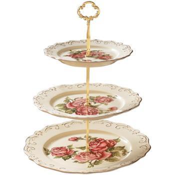 友来福干果盘创意欧式新年婚庆客厅三层点心糖果干果蛋糕果盘