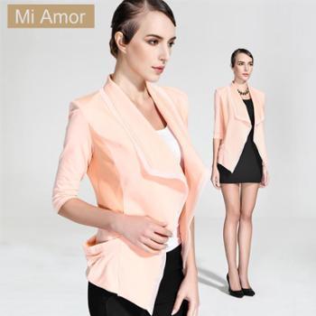 米娅茉2014春装新款 欧美风青果领小西装粉色显瘦针织短外套女