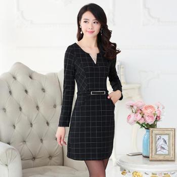戎立特新款女装连衣裙时尚显瘦优雅格子OL气质职业装dw7051