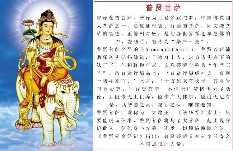 """生肖为""""龙""""和""""蛇""""的人本命佛是普贤菩萨"""