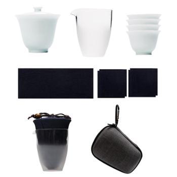 谁美盖碗套装快客杯一壶二杯三杯日式旅行茶具套装便携包户外旅游功夫sjyw