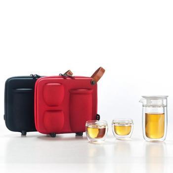 谁美旅行茶具套装便携式泡茶杯玻璃水杯水壶高硼硅双层玻璃杯功夫茶具jcs