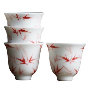 谁美景德镇釉下彩红竹功夫茶杯品茗杯陶瓷家用白瓷单杯sjyw