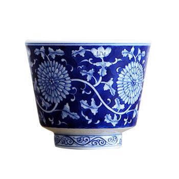 谁美景德镇百花青花品茗杯仿古薄胎陶瓷品茗杯纯手绘重工主人茶杯sjyw
