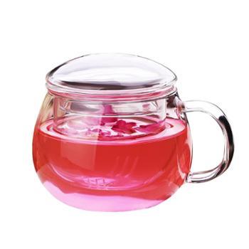 谁美可爱家用喝茶杯泡茶过滤带把花茶杯玻璃杯带盖办公室男喝水杯子女gy