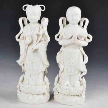 美甚金童玉女家饰家居装饰品工艺品摆件摆设品风水瓷器MS00白色8寸