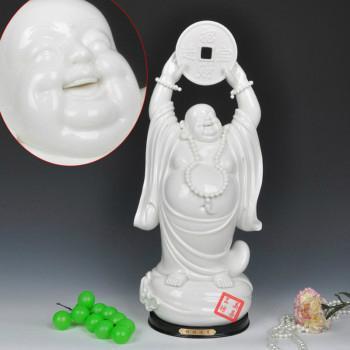 美甚 笑口常开弥勒佛像陶瓷弥勒佛像佛珠摆件 MSHL0281
