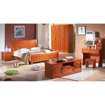 意特尔现代中式橡木衣柜实木平开门衣柜橱四门衣柜组合特价