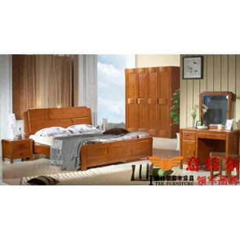 意特尔进口榆木 现代中式四门平开门大衣柜简约4门储物衣橱预售