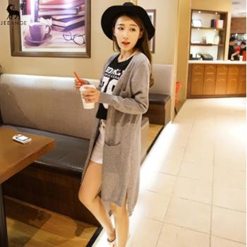 锦昂新款女士羊毛三兜长开衫纯色时尚毛衣外套针织衫YYY3608