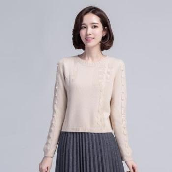 【12.12搜实惠】锦昂2017年秋冬新款女式修身小珠子圆领羊绒衫MSGT06349